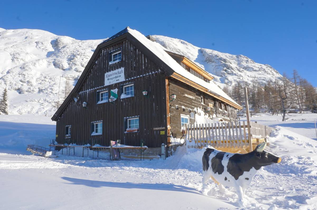 De Grazerhütte in de winter